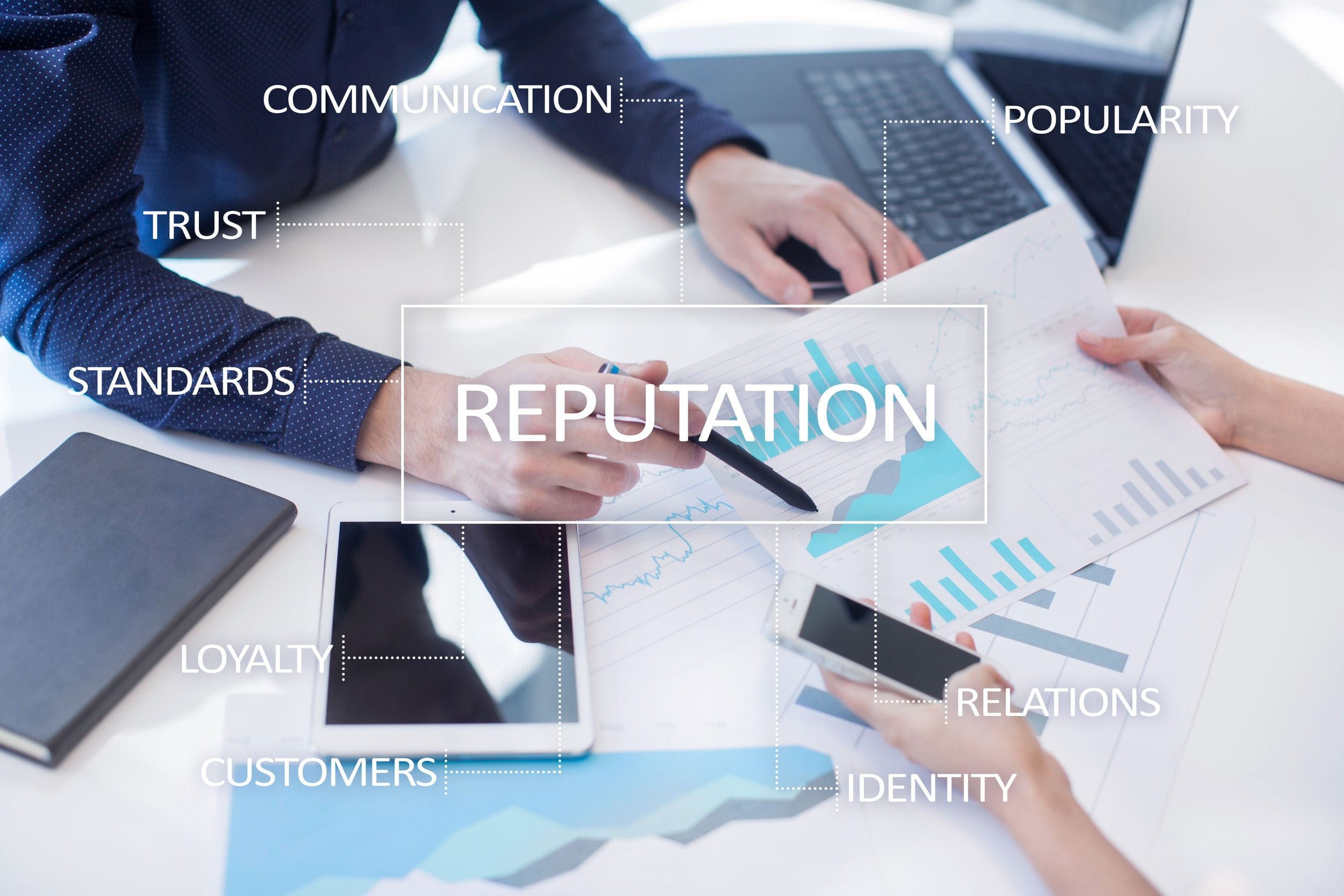 Reputation and customer relationship business concept